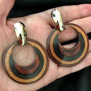 BUNDLE ITEM: Pair of Goldtone/Wood Earrings